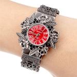Retro Embossed Flower Bracelet Quartz Watch for Women(Red)