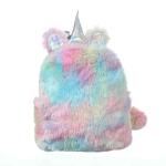 2 PCS Unicorn Backpack Bag For Teenager Colorful Fur Leather Schoolbag Female Travel Shoulder Bag(Colour)