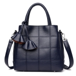 Leather Luxury Women Big Capacity Handbags Shoulder Bag Crossbody Bag(Dark blue)