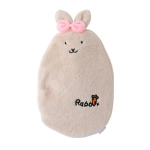 Small Portable Warm Water Bottle Explosion-proof Hot Water Bottles Hand Warmer Water Injection Storage Bag Tool(Beige)
