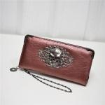 PU Leather Wallet Long Zipper Closed Wallets Skull Flower Lady Purses(Red)