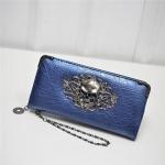 PU Leather Wallet Long Zipper Closed Wallets Skull Flower Lady Purses(Blue)