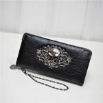PU Leather Wallet Long Zipper Closed Wallets Skull Flower Lady Purses(Black)