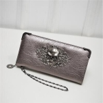 PU Leather Wallet Long Zipper Closed Wallets Skull Flower Lady Purses(Champagne)