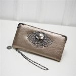 PU Leather Wallet Long Zipper Closed Wallets Skull Flower Lady Purses(Gold)