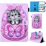 Universal School Bag Series Butterfly Cat Pattern Horizontal Flip Leather Case for 7 inch Tablet PC, with Holder & Card Slot & Wallet