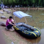 Outdoor Folding Awning Canoe Rubber Inflatable Boat Parasol Tent for 2-5 Person,Boat is not Included (White)