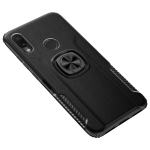 Shockproof Car Magnetic Case with 360 Degree Gold Armor Ring for Xiaomi Redmi Note7 (Black)