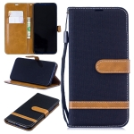Color Matching Denim Texture Leather Case for Xiaomi Redmi Note 7, with Holder & Card Slots & Wallet & Lanyard (Black)