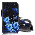 Blue Folwer Pattern Horizontal Flip Leather Case for Xiaomi Mi Play, with Holder & Card Slots & Wallet