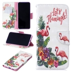 3D Colored Drawing English Flamingo Pattern Horizontal Flip Leather Case for Xiaomi Redmi Note 7 / Redmi Note 7 Pro, with Holder & Card Slots & Wallet