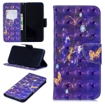 3D Colored Drawing Purple Butterfly Pattern Horizontal Flip Leather Case for Xiaomi Redmi Note 7 / Redmi Note 7 Pro, with Holder & Card Slots & Wallet