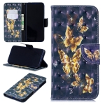 3D Colored Drawing Black Background Butterfly Pattern Horizontal Flip Leather Case for Xiaomi Redmi Note 7 / Redmi Note 7 Pro, with Holder & Card Slots & Wallet