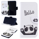 Colored Drawing Hello Panda Pattern Horizontal Flip Leather Case for Xiaomi Redmi Note 7 / Redmi Note 7 Pro, with Holder & Card Slots & Wallet