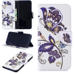 Colored Drawing White Butterflies Pattern Horizontal Flip Leather Case for Xiaomi Redmi Note 7 / Redmi Note 7 Pro, with Holder & Card Slots & Wallet