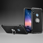 Magnetic 360 Degree Rotation Ring Holder Armor Protective Case for Xiaomi Note 6(Black)