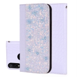 Crocodile Texture Glitter Powder Horizontal Flip Leather Case for Xiaomi Redmi Note 7, with Card Slots & Holder (White)