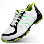 PGM Golf Ultra-fine Anti-slip Microfiber Leather Breathable Sneakers for Men(Color:White Green Size:39)