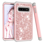 Glitter Contrast Color Silicone + PC Shockproof Case for Galaxy S10 (Rose Gold+Grey)