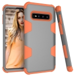 Contrast Color Silicone + PC Shockproof Case for Galaxy S10 (Grey+Orange)
