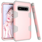 Contrast Color Silicone + PC Shockproof Case for Galaxy S10 (Rose Gold+Grey)