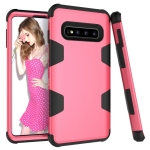 Contrast Color Silicone + PC Shockproof Case for Galaxy S10 (Rose Red)