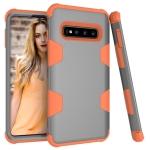 Contrast Color Silicone + PC Shockproof Case for Galaxy S10+ (Grey+Orange)
