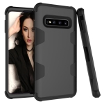 Contrast Color Silicone + PC Shockproof Case for Galaxy S10+ (Black)