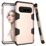 Contrast Color Silicone + PC Shockproof Case for Galaxy S10+ (Gold)