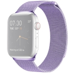 Milanese Loop Magnetic Stainless Steel Watchband for Apple Watch Series 4 & 3 & 2 & 1 42mm & 44mm (Light Purple)