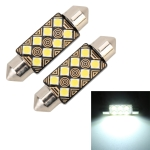 2 PCS 39mm DC12V / 1.5W / 6000K / 110LM 8LEDs SMD-3030 Car Reading Lamp Dome Light, with Decoder