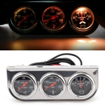 52mm 12V Universal Car Modified Triple Meter 3 in 1 Gauge Oil Press Gauge + Water Temperature Gauge + Ammeter, with Sensor