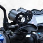 Portable Motorcycle Aluminum Alloy Dual USB Charger Cigarette Lighter (Black)
