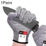 A Pair Cut-resistant Gardening Gloves HPPE Food-grade 5-Level Anti-cutting Anti-wear Safety Working Gloves, Size: S, Length: 20cm(Black)