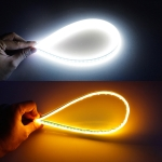 2 PCS 30cm DC12V 4.2W Ultra-thin Car Auto Double Colors Turn Lights / Running Lights, with LED SMD-2835 Lamp Beads (Turn Lights: Yellow Light; Running Lights: White Light)