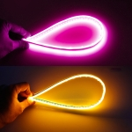 2 PCS 30cm DC12V 4.2W Ultra-thin Car Auto Double Colors Turn Lights / Running Lights, with LED SMD-2835 Lamp Beads (Turn Lights: Yellow Light; Running Lights: Pink Light)
