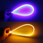 2 PCS 30cm DC12V 4.2W Ultra-thin Car Auto Double Colors Turn Lights / Running Lights, with LED SMD-2835 Lamp Beads (Turn Lights: Yellow Light; Running Lights: Blue Light)