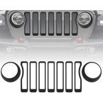 Car Mesh Grille Grill Insert + Headlight Turn Light Cover Trim for Jeep Wrangler JL 2018-2019(Black)