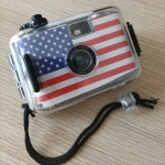SUC4 American Flag Pattern Retro Film Camera Mini Point-and-shoot Camera for Children 5m Waterproof