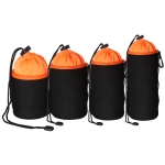 4 in 1 SLR Camera Lens Bag Micro Single Lens Bag Lens Inner Bile Bag Waterproof Protective Case Plus Velvet Thickening (Orange)