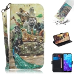 3D Colored Drawing Animals Pattern Horizontal Flip Leather Case for Huawei Y5 (2019) / Honor 8s, with Holder & Card Slots & Wallet