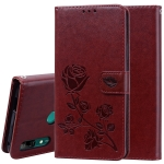 Rose Embossed Horizontal Flip PU Leather Case for Huawei P Smart Z, with Holder & Card Slots & Wallet (Brown)