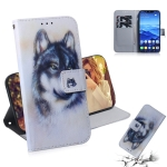 White Wolf Pattern Coloured Drawing Horizontal Flip Leather Case for Huawei Mate 20 Lite, with Holder & Card Slots & Wallet