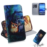 Oil Painting Owl Pattern Coloured Drawing Horizontal Flip Leather Case for Huawei Mate 20 Lite, with Holder & Card Slots & Wallet