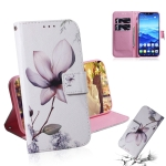 Magnolia Flower Pattern Coloured Drawing Horizontal Flip Leather Case for Huawei Mate 20 Lite, with Holder & Card Slots & Wallet