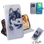 White Wolf Pattern Coloured Drawing Horizontal Flip Leather Case for Huawei Mate 20 X, with Holder & Card Slots & Wallet