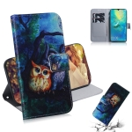 Oil Painting Owl Pattern Coloured Drawing Horizontal Flip Leather Case for Huawei Mate 20 X, with Holder & Card Slots & Wallet