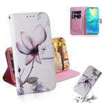 Magnolia Flower Pattern Coloured Drawing Horizontal Flip Leather Case for Huawei Mate 20 X, with Holder & Card Slots & Wallet