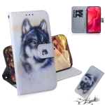 White Wolf Pattern Coloured Drawing Horizontal Flip Leather Case for Huawei Nova 4, with Holder & Card Slots & Wallet