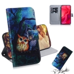 Oil Painting Owl Pattern Coloured Drawing Horizontal Flip Leather Case for Huawei Nova 4, with Holder & Card Slots & Wallet